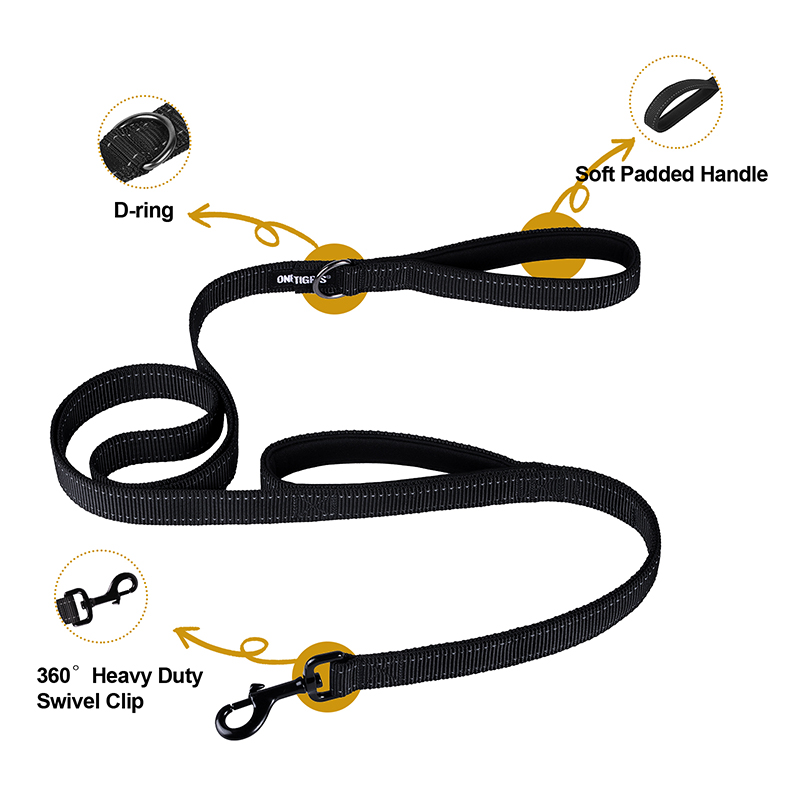 OneTigris Dog Leash 16 soft padded handle D-ring 360 heavy duty swivel clip