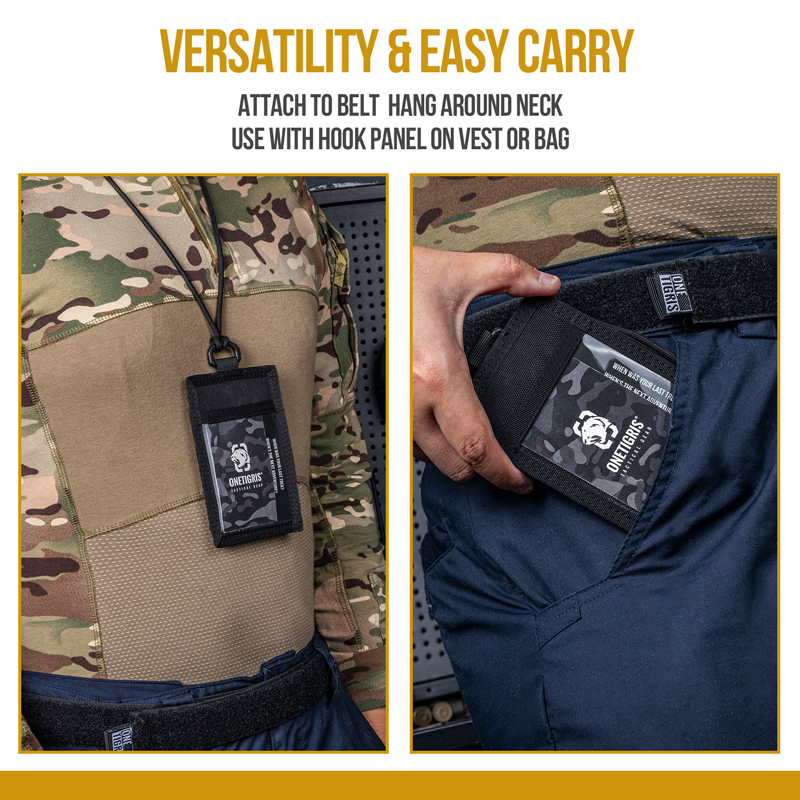 OneTigris Tactical ID Card Holder Multiple Carry Options