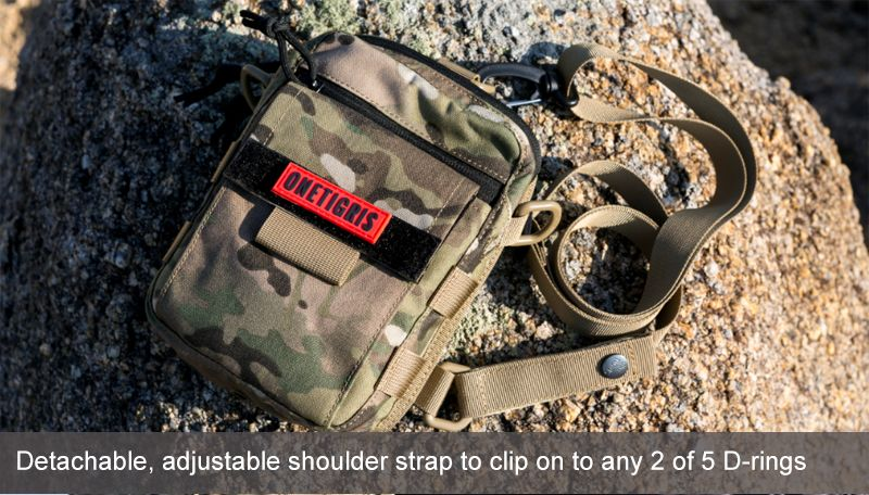 Detachable, adjustable shoulder strap to clip on to any 2 of 5 D-rings