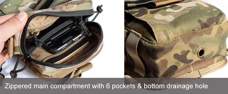 Zippered main compartment with 6 pockets & bottom drainage hole