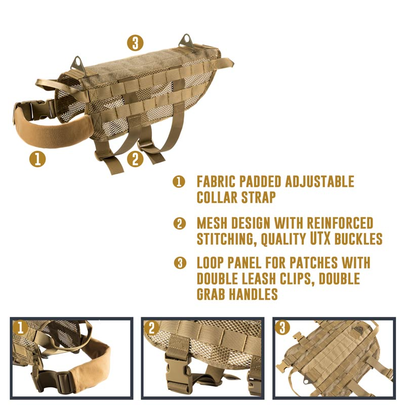 details of mesh dog harness