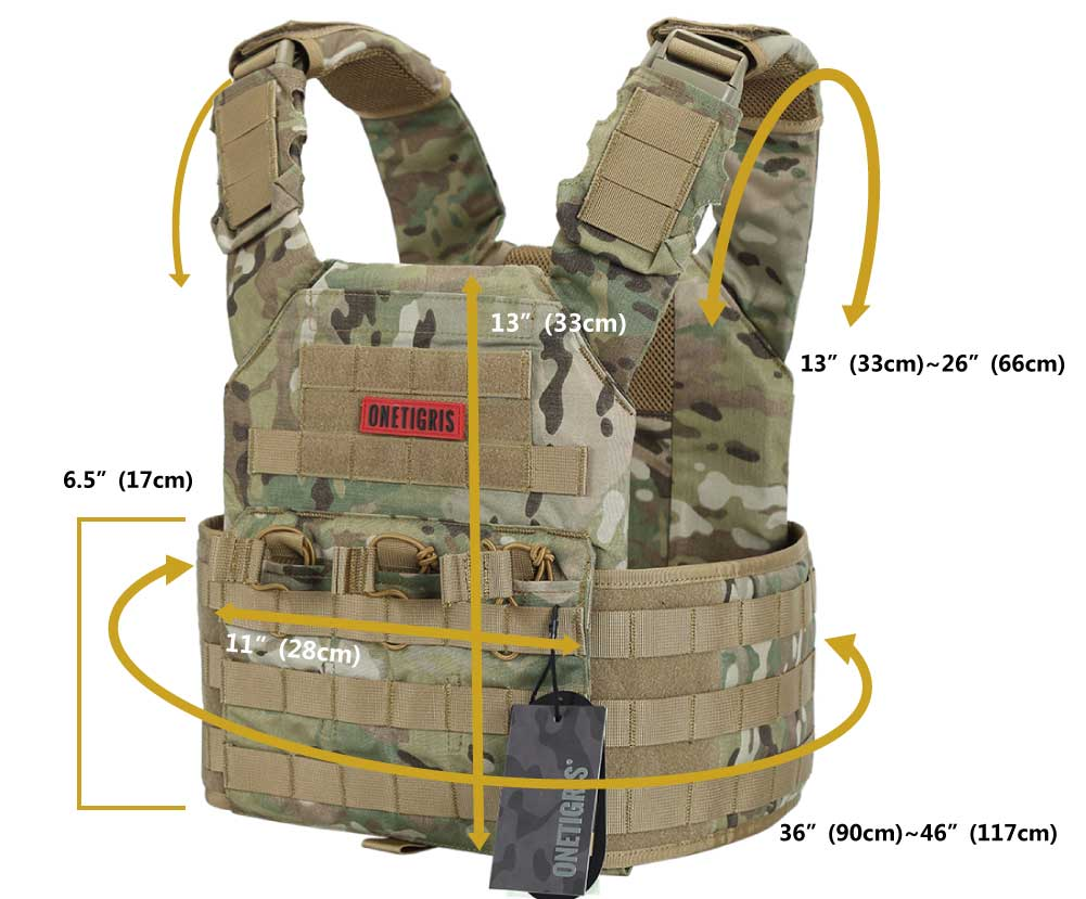 multicam plate carrier size chart