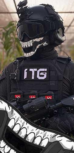 1TG FACE OFF Airsoft Mask Set-Skeletal Décor